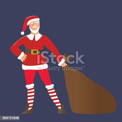 Happy Santa Claus with gift bag, character for Christmas and New Year Design. Vector illustration, isolated.