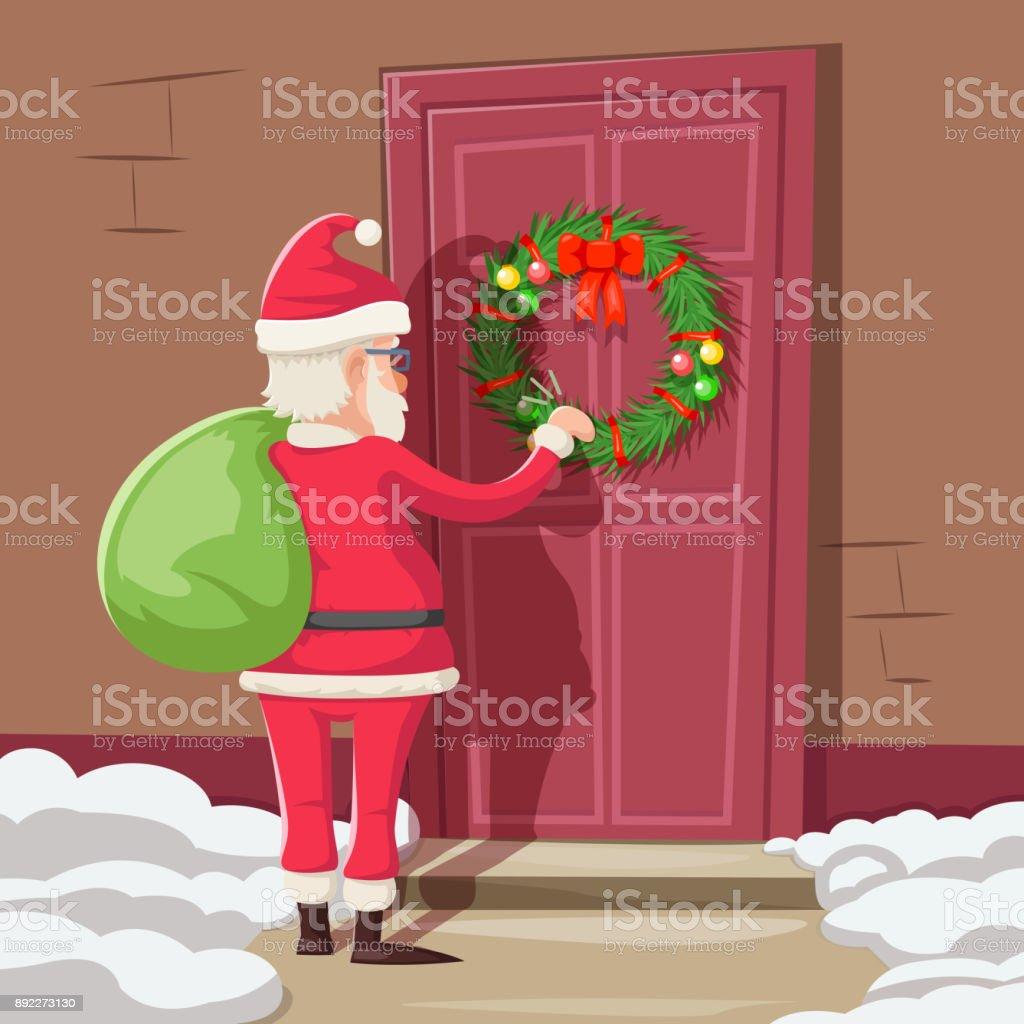 Weihnachtsmann Mit Geschenk Tasche Klopfen Weihnachten Neujahr ...