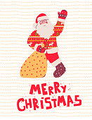 Santa claus with gift, merry christmas. Funny cartoon character. Vector flat illustration. Happy new year. Xmas present.