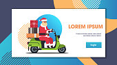 santa claus with gift present boxes riding delivery scooter merry christmas happy new year winter holidays celebration concept full length horizontal flat copy space vector illustration