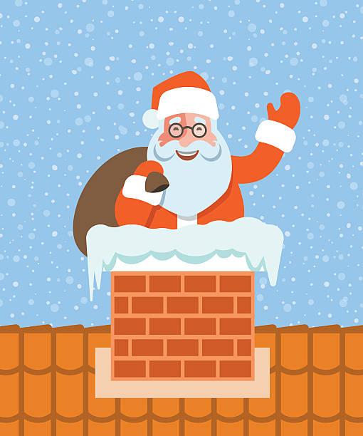 santa claus with gifts sits in chimney on roof - kaminverkleidungen stock-grafiken, -clipart, -cartoons und -symbole
