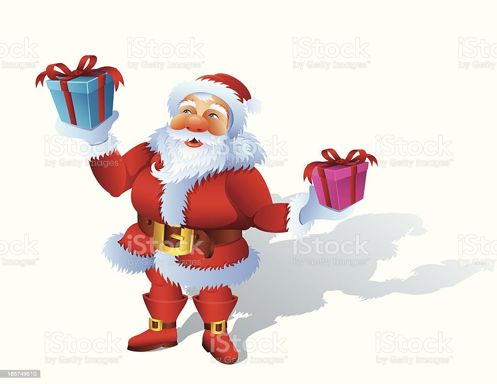 Santa Claus with Gifts vector art illustration