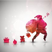 Santa Claus with gifts, Christmas background. Illustration contains transparency and blending effects, eps 10