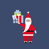 Santa Claus with gifts. Vector illustration.