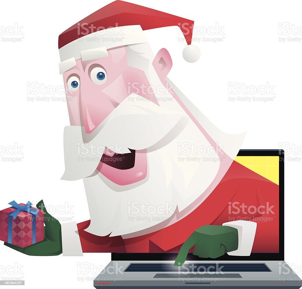 santa claus with laptop royalty-free santa claus with laptop stock vector art & more images of adult