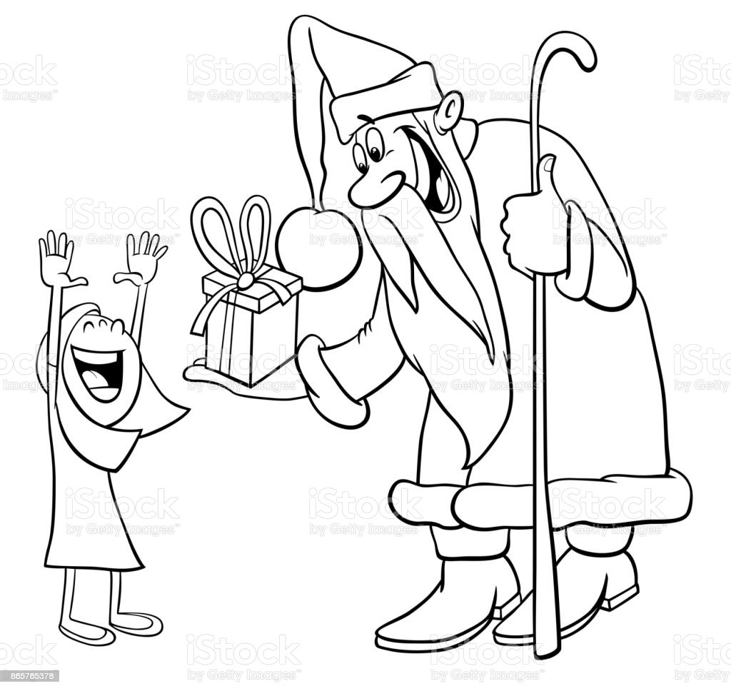 santa claus with little girl coloring page royalty free santa claus with little girl coloring