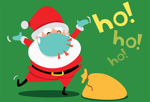 Santa Claus with mask on Coronavirus Christmas.