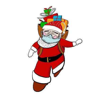 Santa Claus with medical mask