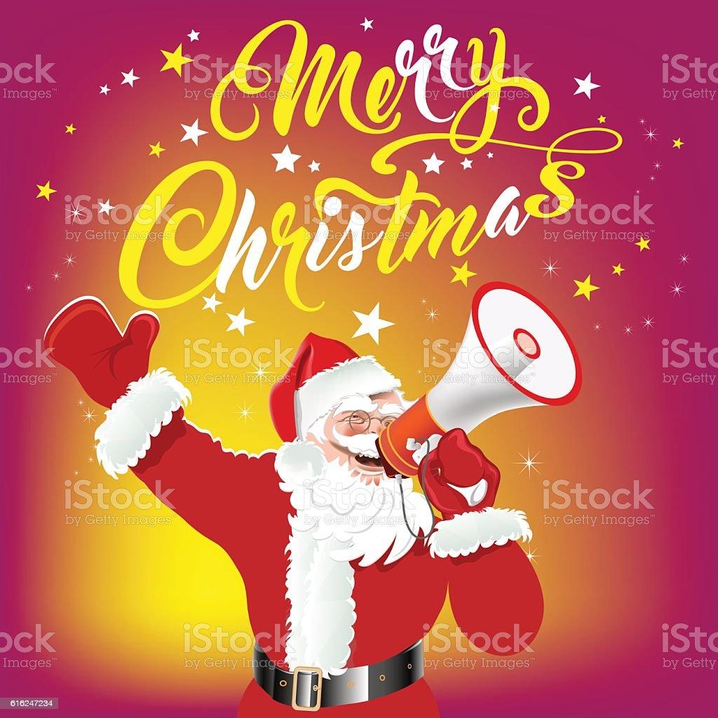 Santa Claus With Megaphone Merry Christmas Text Christmas Card Stock
