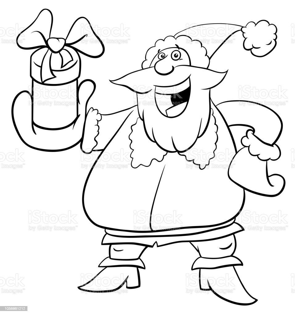 Ilustración De Santa Claus Con El Presente Libro Para Colorear Y Más