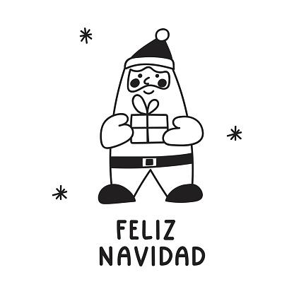 Santa claus with present. Inscription - feliz navidad it's mean merry Christmas in Spanish.
