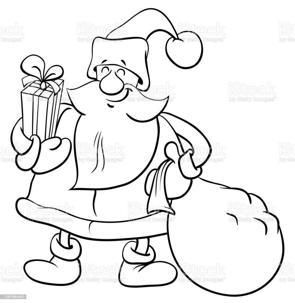 Weihnachtsmann Mit Geschenken Malbuch Stock Vektor Art Und
