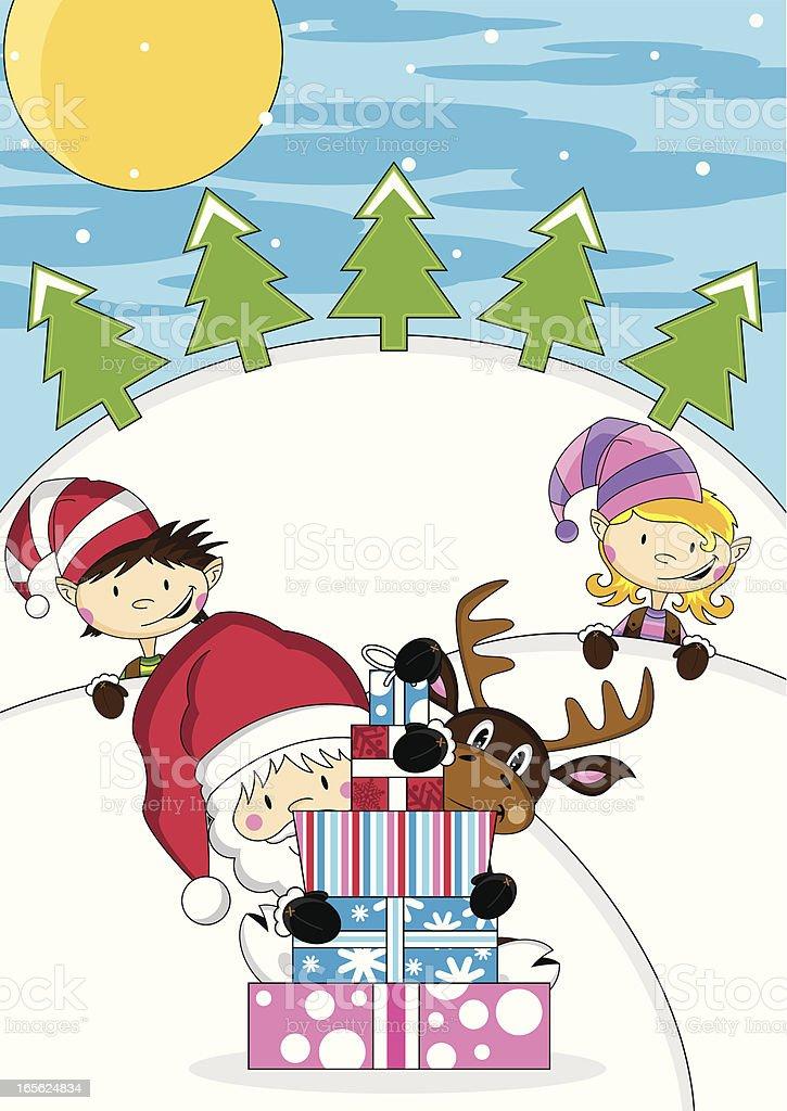 Santa Claus with Reindeer & Elves royalty-free stock vector art