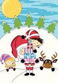 Santa Claus with Reindeer & Elves