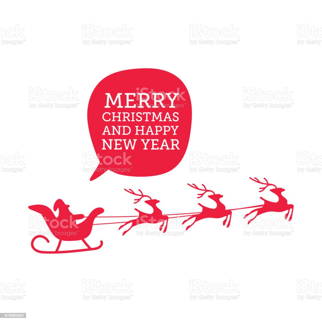 Santa Claus with reindeer silhouette
