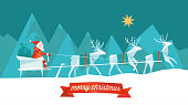 polygonal flat christmas illustration of santa claus with reindeer sleigh