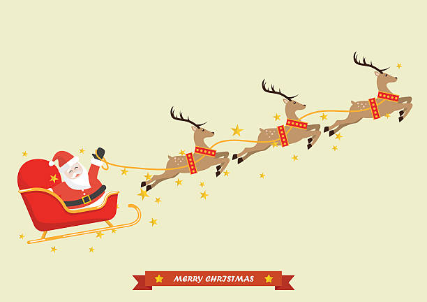 Santa Claus with Reindeer Sleigh vector art illustration
