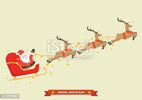 Santa Claus With Reindeer Sleigh stock vector art ...