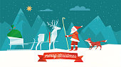 polygonal folded christmas illustration of santa claus with reindeer sleigh and red fox in abstract winter landscape