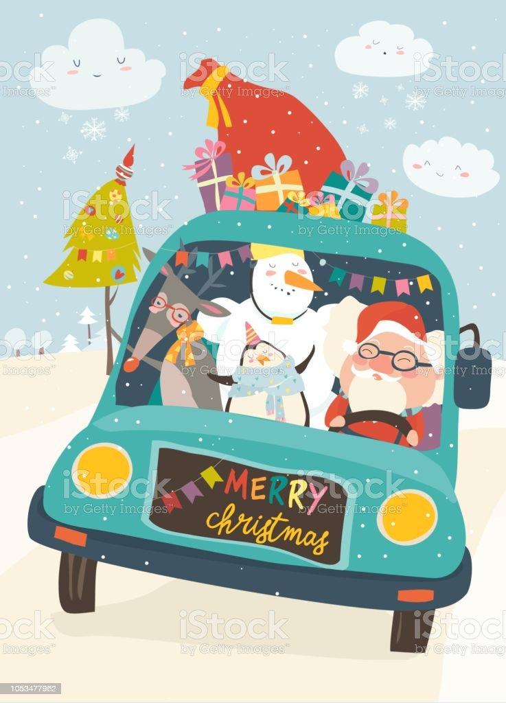 Weihnachtsmann Mit Rentier Schneemann Und Pinguin In Gelbes Auto