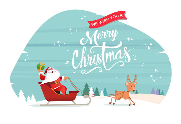 santa claus with reindeer - holiday season stock illustrations