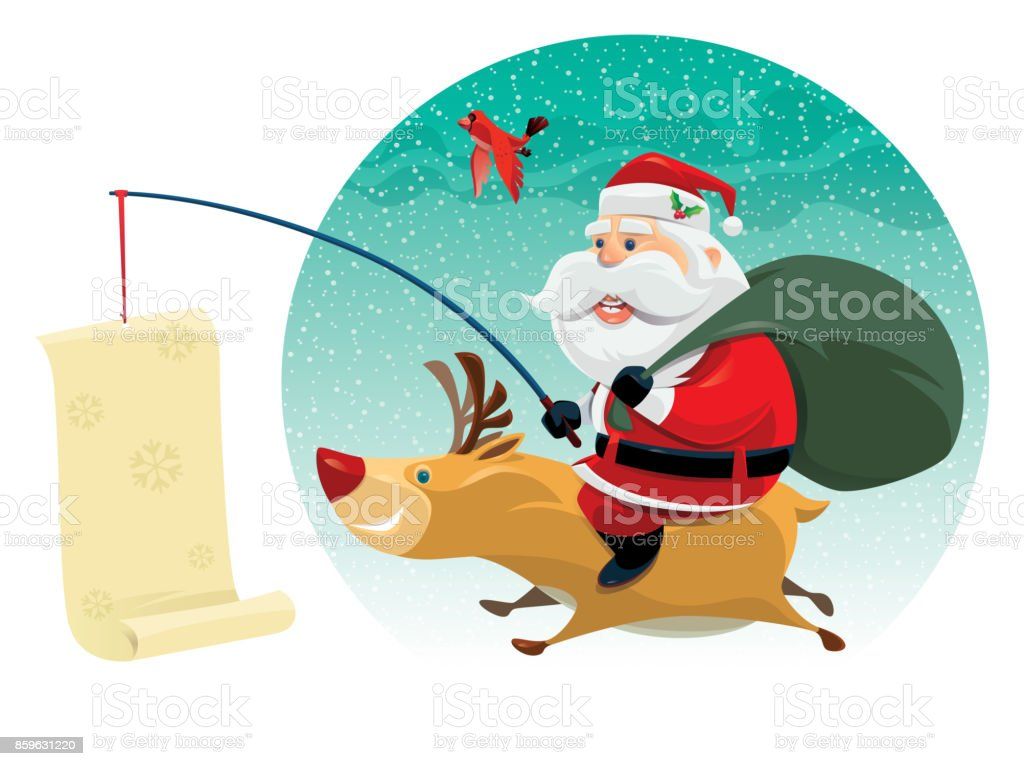 santa claus with reindeer vector art illustration