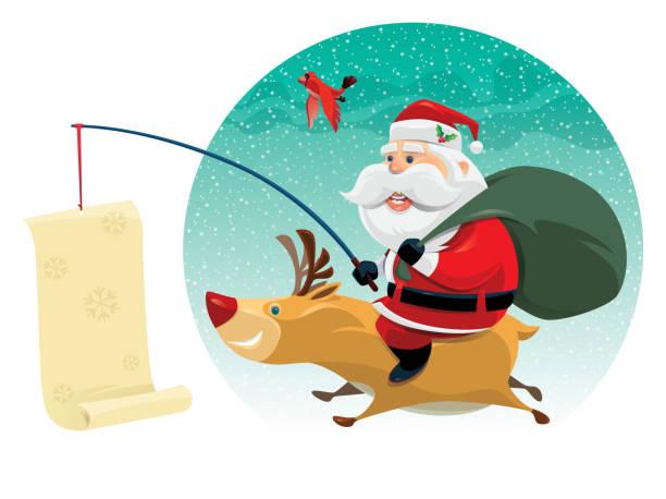santa claus with reindeer vector art illustration