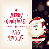 Santa Claus with retro textual signboard isolated on a sparkle background.Vector illustration for Christmas greeting.