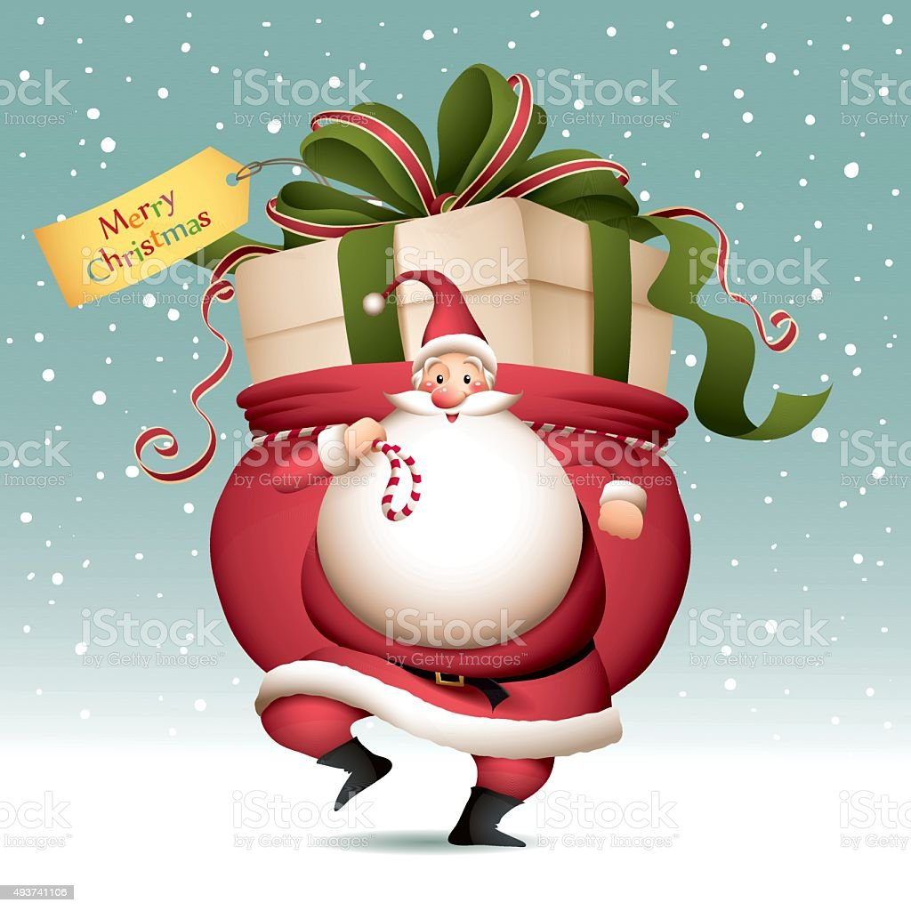 Santa Claus with sack full of big gift vector art illustration