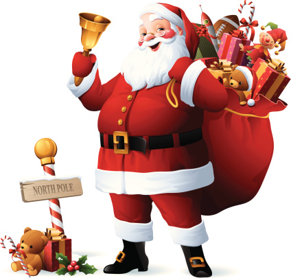 Santa Claus with sack full of christmas gifts