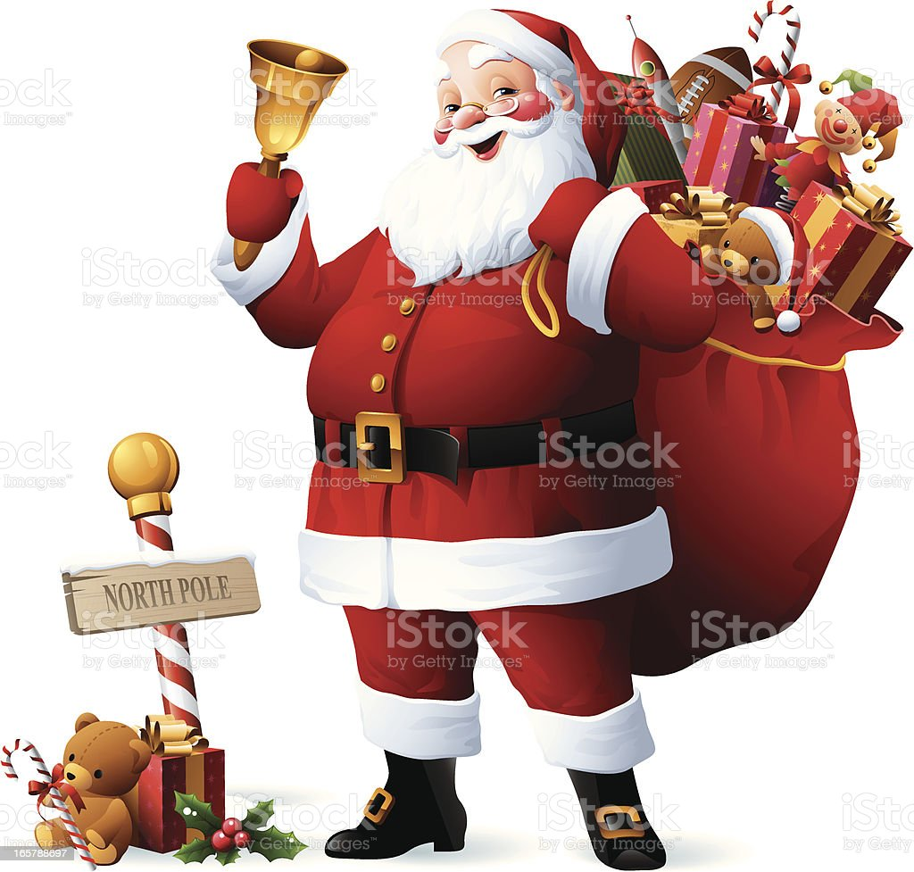 Santa Claus with sack full of christmas gifts vector art illustration