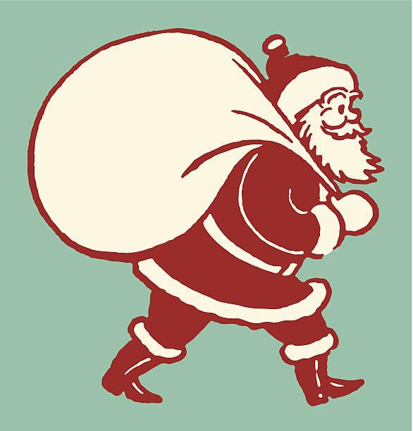 weihnachtsmann mit sack von spielzeug - nikolaus stock-grafiken, -clipart, -cartoons und -symbole