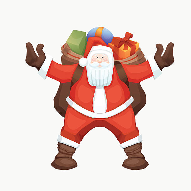 santa claus with sack - old man funny pictures stock illustrations