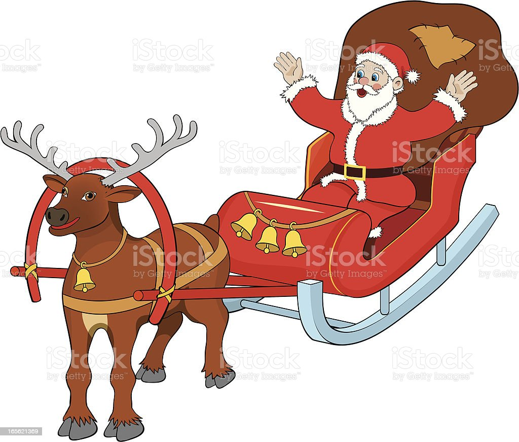 Santa Claus with sled royalty-free santa claus with sled stock vector art & more images of beard
