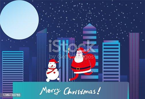 Papai Noel com boneco de neve e lua
