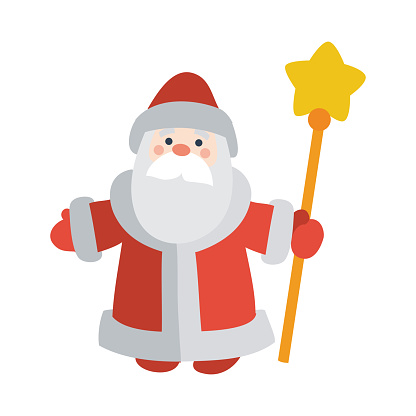 Santa Claus with Stick Isolated. Father Frost