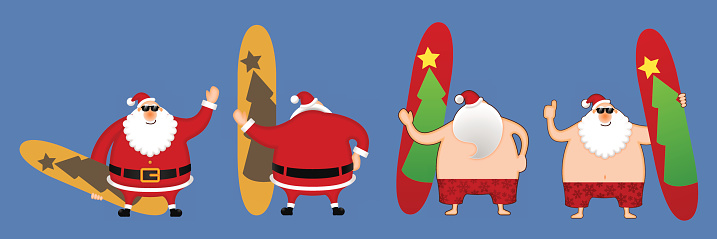 Santa Claus with the surfboards