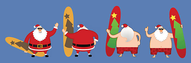 santa claus with the surfboards - old man funny pictures stock illustrations, clip art, cartoons, & icons