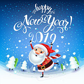 Santa Claus with the symbol of 2019 on skates rushes for holiday on the field with Christmas trees.Christmas time with snow and gifts.Decoration of a poster card and holiday background. 2019 New year.