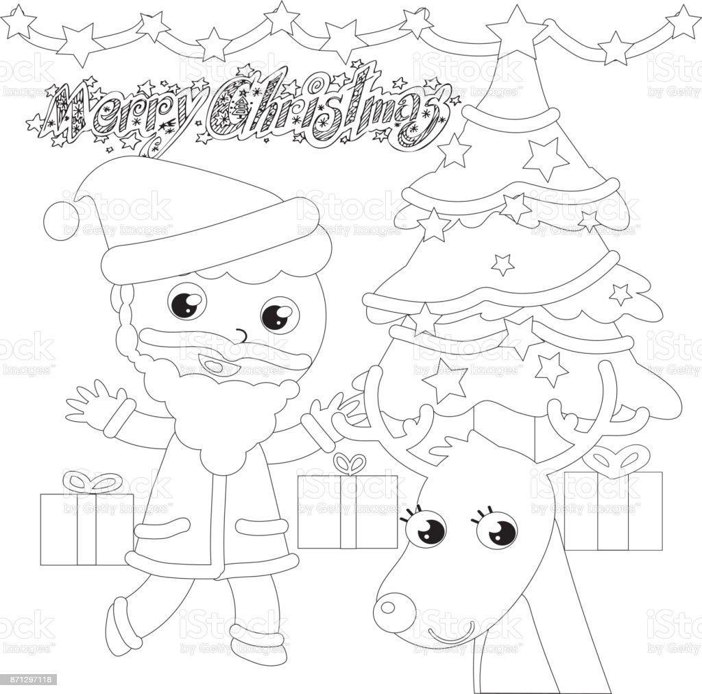 Papá Noel Con árbol Y Renos Para Colorear - Arte vectorial de stock ...