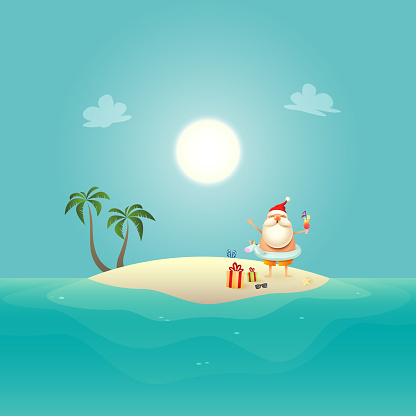 Santa Claus with Unicorn swim ring celebrate summer at sandy island - Christmas in June background