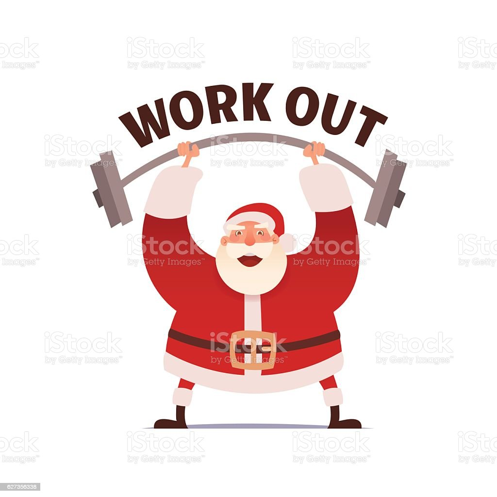 Santa Claus Workout In Gym Merry Christmas And Happy New Stock ...