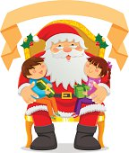 Santa Clause with two kids on his lap and an empty label on top