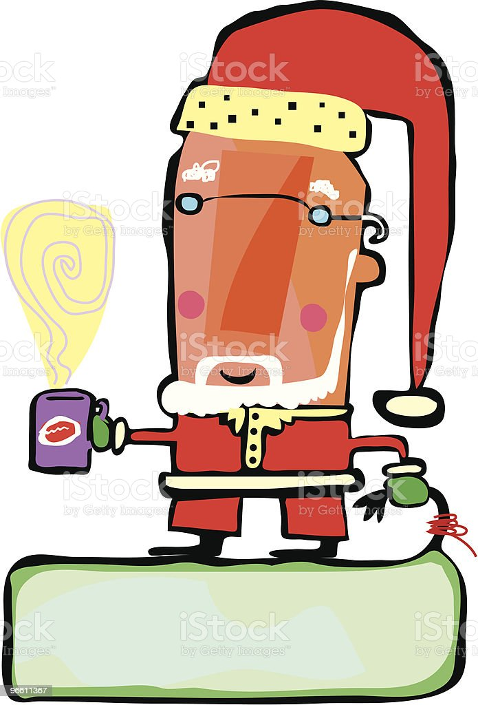 Santa clause coffee break - Royaltyfri Bag vektorgrafik