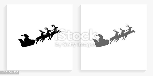 Santa Clause Sled Black and White Square Icon. This 100% royalty free vector illustration is featuring the square button with a drop shadow and the main icon is depicted in black and in grey for a roll-over effect.