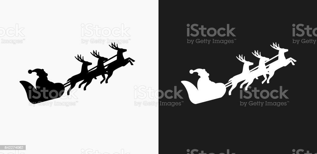 Weihnachtsmann Schlitten Symbol Auf Schwarzweißvektorhintergründe