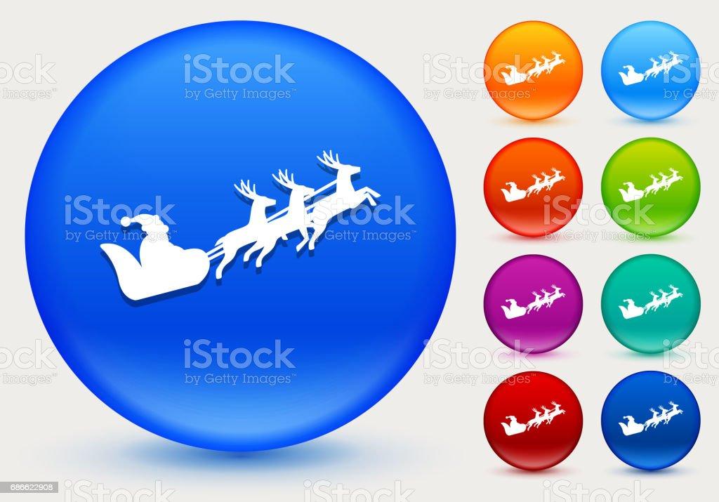Santa Clause Sled Icon on Shiny Color Circle Buttons royalty-free santa clause sled icon on shiny color circle buttons stock vector art & more images of christmas