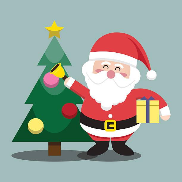 santa klausel weihnachtsbaum für weihnachten charakter - kaminverkleidungen stock-grafiken, -clipart, -cartoons und -symbole