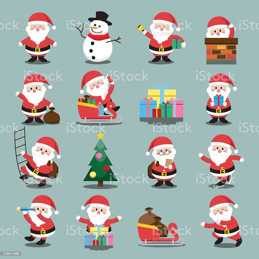 Santa Clauses set for christmas vector art illustration