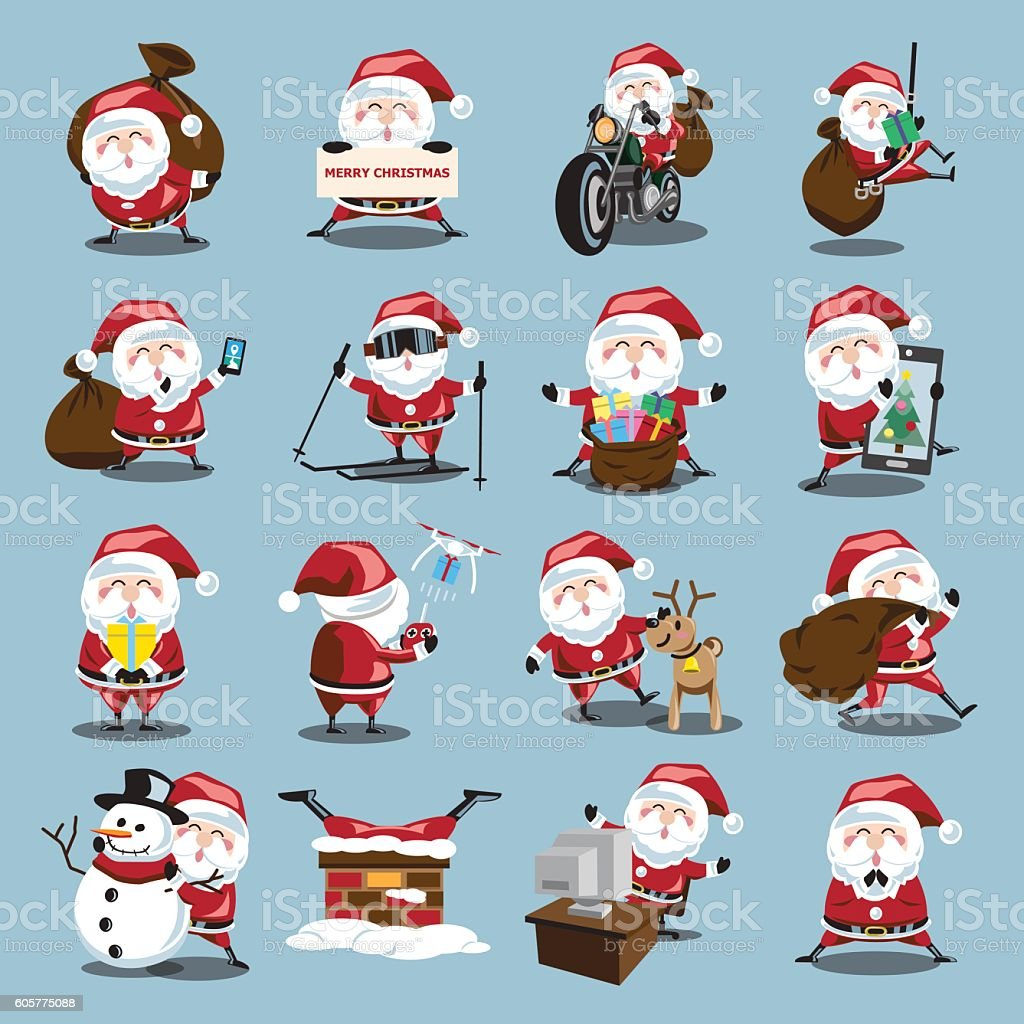 Santa Clauses set for christmas vector art illustration